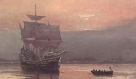 Mayflower en la Bahía de Plymouth (por William Halsall, 1882)
