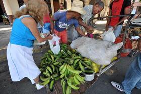"""Ciudadanos compran vegetales a un """"carretillero"""", el jueves 24 de noviembre de 2011, en La Habana"""