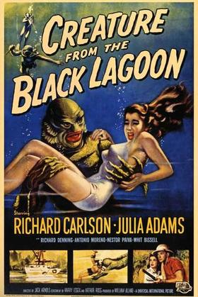 "Cartel anunciador de la película ""Creature of the Black Lagoon"""