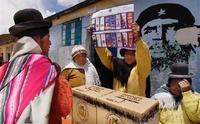 Votantes de izquierda en las elecciones de Bolivia