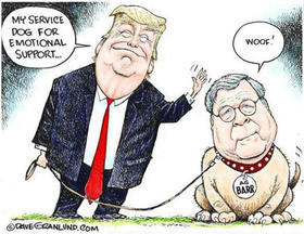 Donald Trump y William Barr, caricatura
